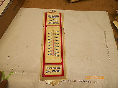 Old Metal Thermometer Mahaney Real Estate & Ins. Tahlequah Oklahoma
