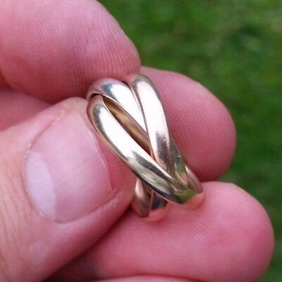 9ct Tri colour russian Gold wedding Band / Ring size J