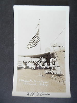 RP US Military Navy Church Services Aboard Ship USS Florida 1910s Postcard