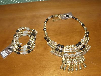 Global & Vine Black/gold/crystal Beaded Adjustable Band Bracelet & Necklace Set
