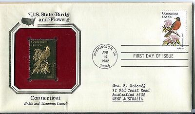 United States 1982 Connecticut Birds & Flowers Gold Replica FDC