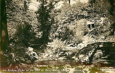NEW MEXICO - Ruidoso River and Noisy Water Lodge; c.1945 Real Photo POSTCARD
