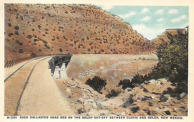 NEW MEXICO - Rock Ballasted Road Bed on Belen Cutoff c.1915 Fred Harvey POSTCARD