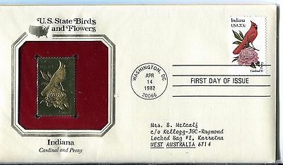 United States 1982 Indiana Birds & Flowers Gold Replica FDC