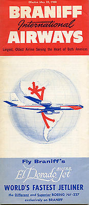 Braniff International Airways May 22, 1960 System Timetable - airlines
