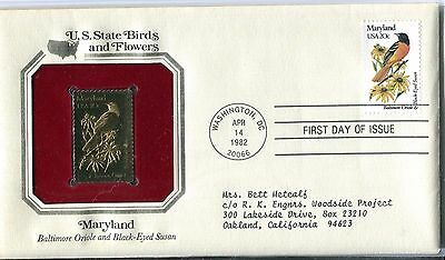 United States 1982 Maryland Birds & Flowers Gold Replica FDC
