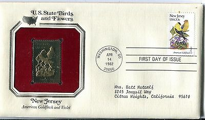 United States 1982 New Jersey Birds & Flowers Gold Replica FDC
