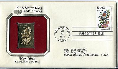 United States 1982 New York Birds & Flowers Gold Replica FDC