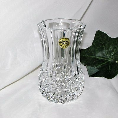 "Cristal D'arques Longchamps 5"" Vase Crystal Smooth Rim France Heavy Excellent"