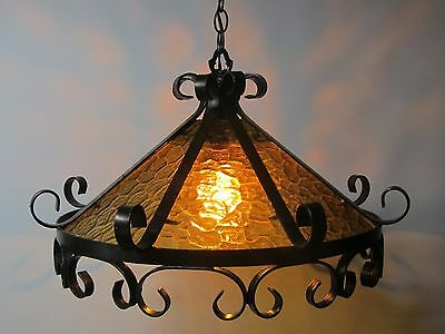 Antique Gothic Wrought Iron Stained Glass Perfect Glass 22W Circle Amber. Cap
