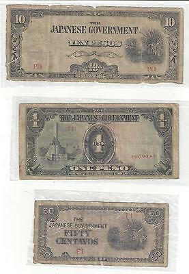 3 Nice Japanese Occupation of the Philippines WWII Currency Bills Paper Money
