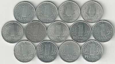 13 DIFFERENT 1 PFENNIG COINS from EAST GERMANY (CONSECUTIVE DATES of 1977-1989)