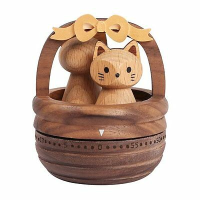 Wooden Cat Kitchen Timer - cooking alarm count-down 60 minutes