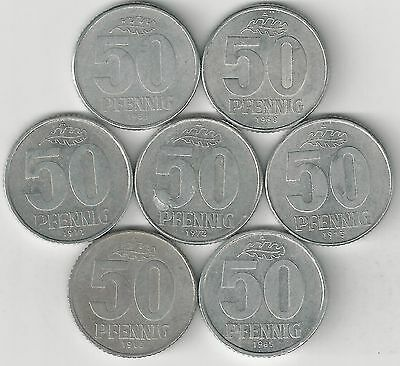7 - 50 PFENNIG COINS from EAST GERMANY (1958/1968/1971/1972/1973/1982/1985)