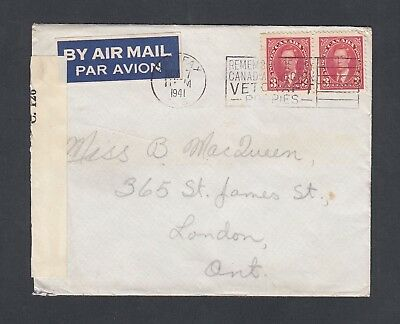 Canada 1941 Wwii Censored Airmail Rcaf Cover Halifax Nova Scotia To London Ont