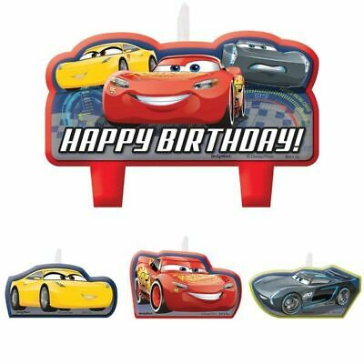 Disney Cars 3 Candle Set 4 Piece Boy Party Supplies Decorations