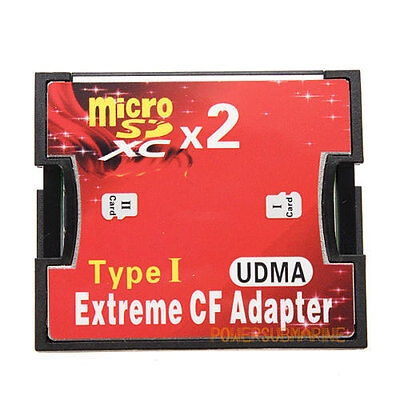 Dual Port Micro Sd/Sdxc Tf To Compact Flash Cf Type 1 Memory Card Reader Adapter