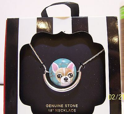 """hand painted Chihuahua turquoise pendant necklace 18"""" chain"""
