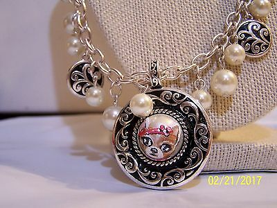 hand painted Chihuahua faux pearl black and silver tone  pendant necklace