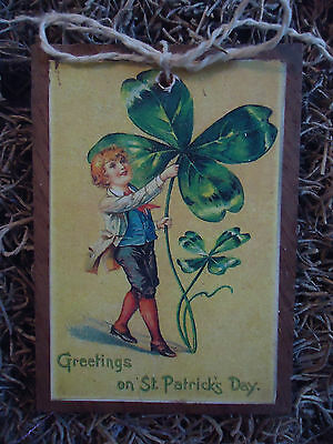 5 WOODEN St. Patrick's Day ORNAMENTS/HANG TAGS Handcrafted SetAB