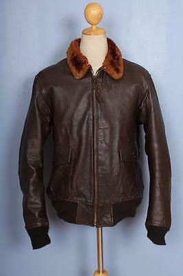 Vtg 1960 California Sports G-1 US NAVY Goatskin Flight Leather Jacket 40/42