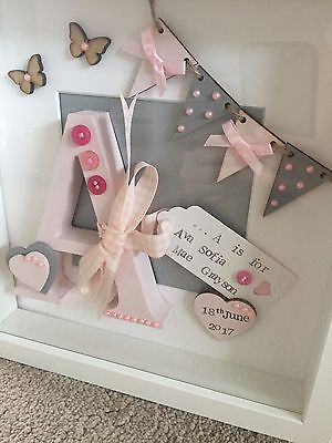 Personalised Letter in deep Box Frame  for new Baby Or Christening