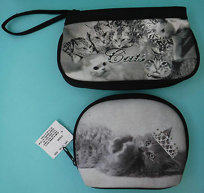2 Vtg. Cat Photo Quilted Cosmetic Bags Wristlet Unused NOS