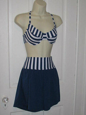 90's SUN STREAK BIKINI Vintage Blue White Striped High Waisted Swimsuit Size 8