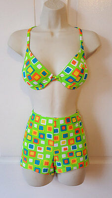90's RAVER SURFSIDE BIKINI Bright Neon Green Orange Geometric Boy Short Bikini