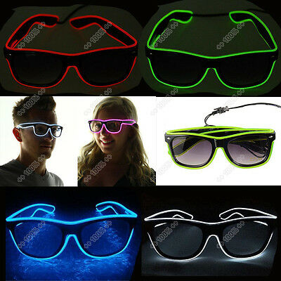 El Wire LED Brille Glow Shutter leuchten Party Bar Leuchtbrille Rave Glasses