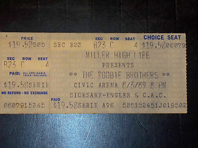 The Doobie Brothers 1989 Ticket Stub**pittsburgh Civic Arena**august 8, 1989**