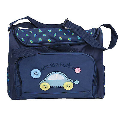 4pcs Cute As Button Embroidery Baby Nappy Changing Bags Sets Dark Blue new T8A8