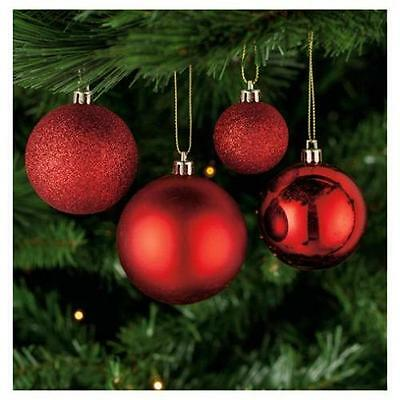 PACK OF 40 x Tesco Mixed Size RED Christmas Xmas Tree Baubles Decorations *NEW!*