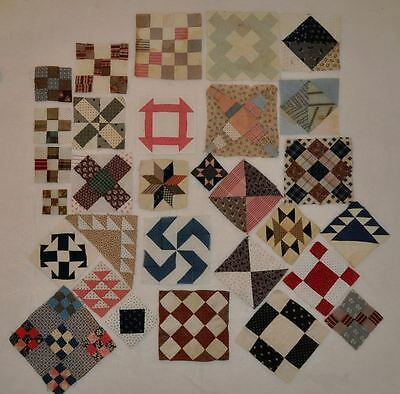 (30) x 1870-1920 – CHARMING SET of SAMPLER ANTIQUE VINTAGE QUILT BLOCKS! Set # B