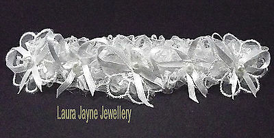 White Satin bridal garters with lace flowers White Satin Bows & faux pearls