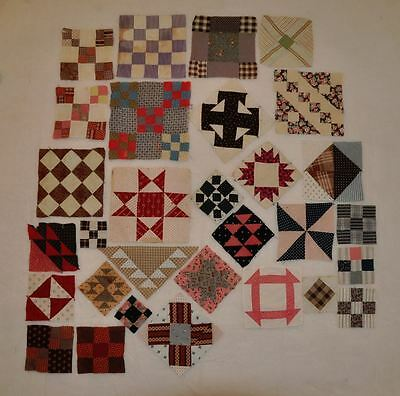 (30) x 1870-1920 – CHARMING SET of SAMPLER ANTIQUE VINTAGE QUILT BLOCKS! Set # C