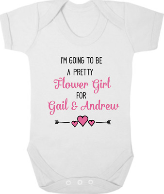 PERSONALISED FLOWER GIRL New Bodysuit/Baby Grow/Vest, WEDDING, Gift, Keepsake