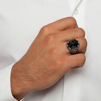 Men's Jewelry 925 Sterling Silver  Faceted Black Onyx Men's Ring