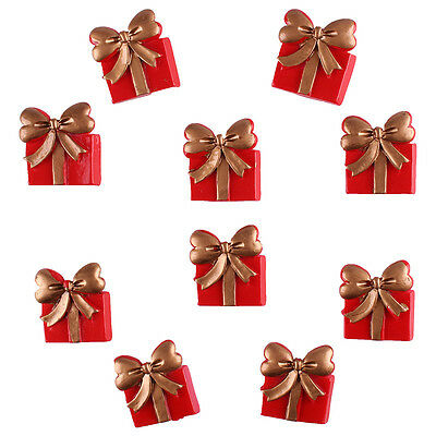 10pcs Resin Christmas Gift Box Flatback Hair Bow DIY Scrapbooking Crafts
