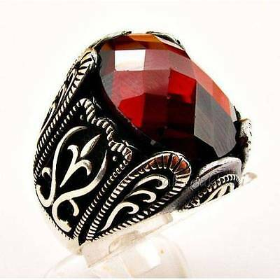 Sterling 925 Silver Ottoman Design Facated Gemstone Men's Ring Jewelry