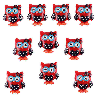10pcs Lovely Owl Flatback Resin Hair Bow Center Craft Scrapbook Embellishments