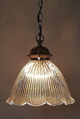 Edwardian Holophane Ceiling Lamp Light Fully Rewired. No 2 of a Pair.