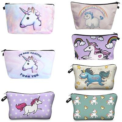 3D Cute Unicorn Make Up Cosmetic Bag Pouch Purse Pencil Case Bag Travel Gift