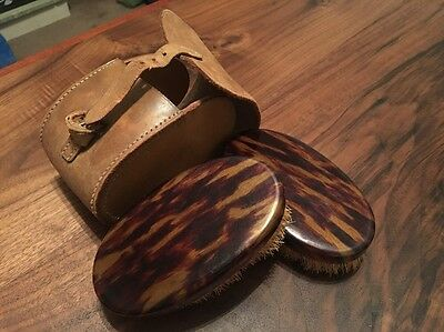 Vintage Shoes , Clothes Brushes In Leather Case. Nice Condition. Collectible