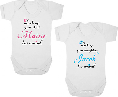 LOCK UP YOUR SONS/DAUGHTERS Bodysuit/Grow/Vest, Newborn Gift Shower PERSONALISED