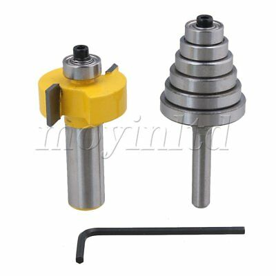 Rabbet Router Bit 1/2 Inch Shank with 6 Bearings Yellow Silver