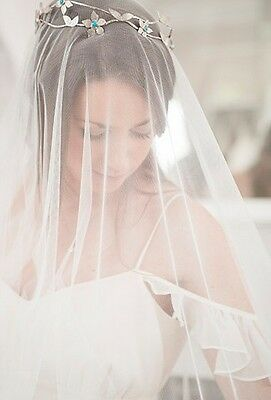 Boho, Cathedral length, Single ivory overhead Fine tulle, delicate raw edge