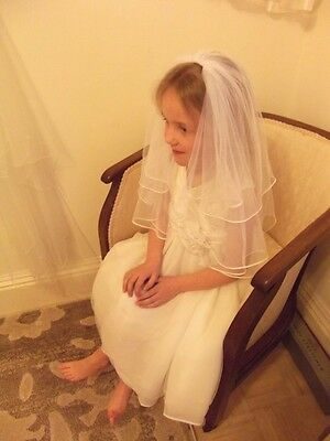 First Holy Communion Veil, Fine soft tulle, white with delicate satin trim
