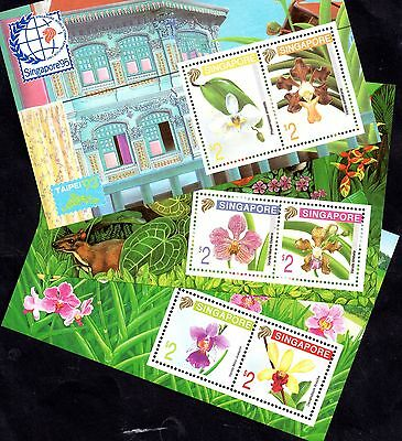 Singapore 95 1995 Orchids Exp 3 different MNH mini sheets WS4755