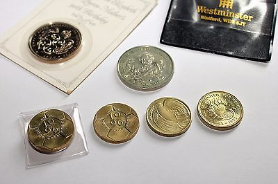 Lot Of Queen Elizabeth Ii Four Uni-Metallic £2 & Two £5 Coins 1990 - 1996